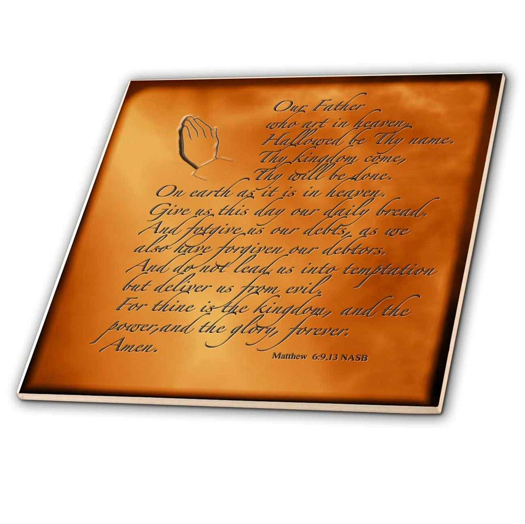 12-Inch 3dRose ct/_32545/_4 The Lords Prayer Matthew 6 9 13 Prayer Hands and Verse Embossed on Copper Ceramic Tile