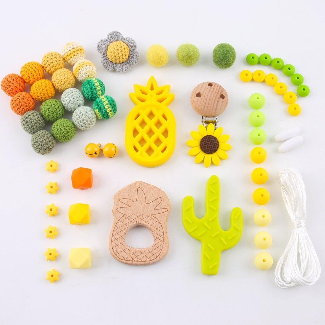 Mamimami Home DIY Baby Beißring Pflege Halskette Holz Häkeln Ringe Ananas Bio Kautabletten Silikon Perlen Armband Schnuller Clips Zahnen Spielzeug (Gelb)