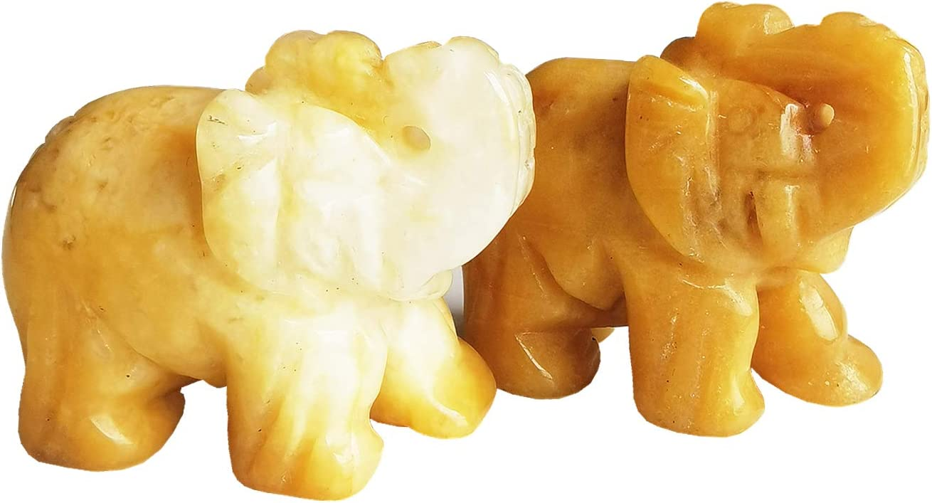 Gemgogo 2 Pcs Natural Yellow Jade Elephant Decor Stones, 1.5 Inches Figurine Room Decor Crystals and Healing Stones