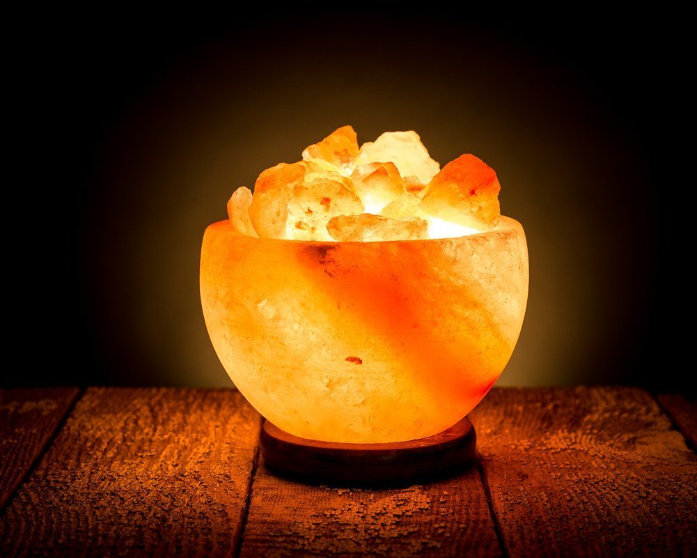 Wood Base HemingWeigh Hand Crafted Rock Salt Bowl Lamp with Himalayan Salt Chips Electric wire /& Bulb SB-15C