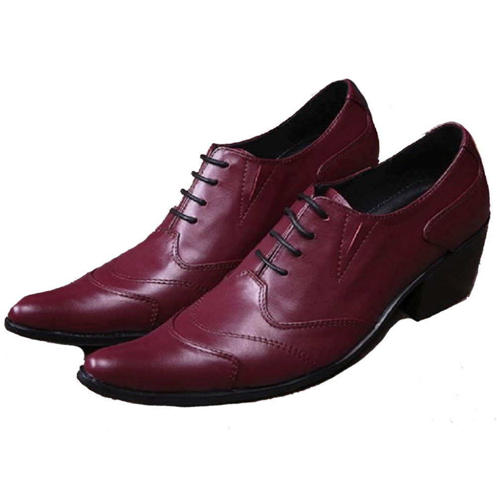 Cover Plus Size 5-12 New Western Burgundy Genuine Leather Dress Oxfords Mens Shoes B06Y151PC2 Western New ebc01c