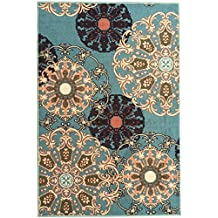 "Ottomanson Ottohome Collection/Aqua Blue Damask Design Area Rug with Non-Skid (Non-Slip) Rubber Backing, Sage Green, 3'3"" x 5'0"""