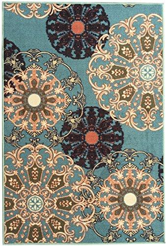 Ottomanson Ottohome Collection Seafoam Damask Design Area Rug with Non-Skid (Non-Slip) Rubber Backing, Seafoam, 8'2