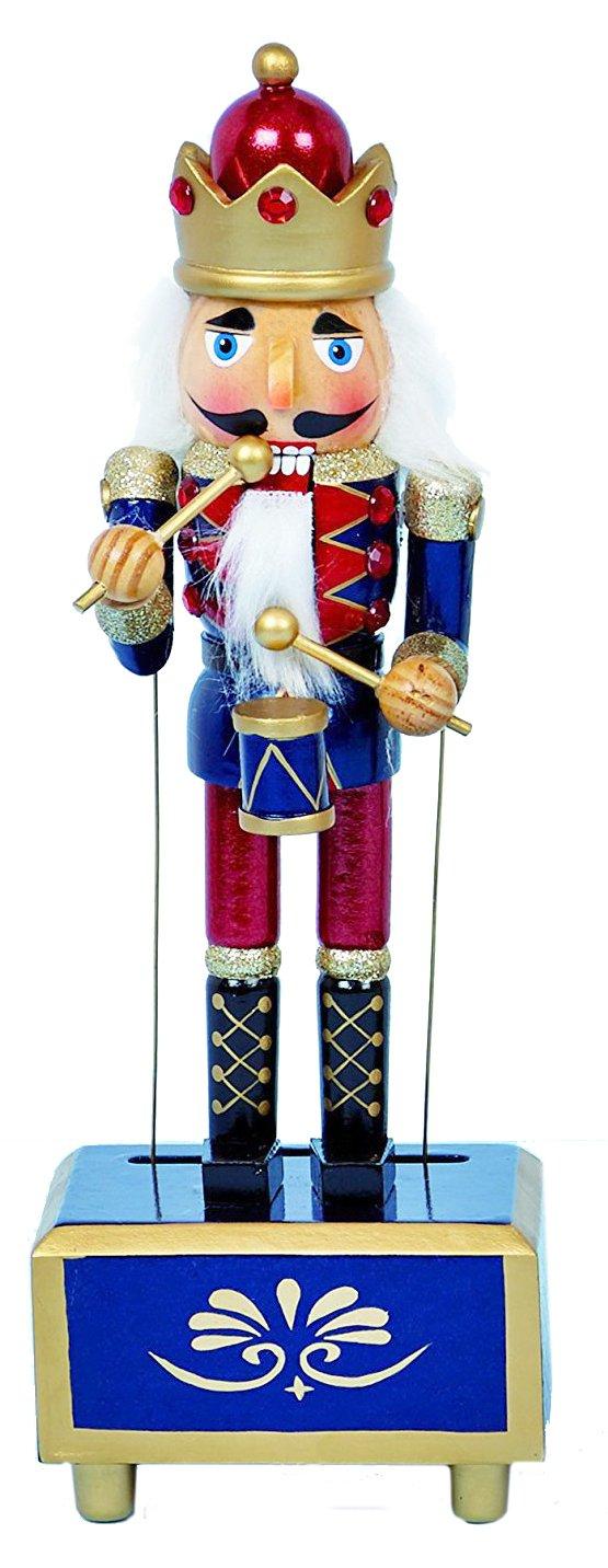 /Blu/ /Marzo dei soldatini/ /30/cm Buzz Schiaccianoci Natalizio in Legno Tradizionale Soldato con Tamburo Clockwork Carillon/