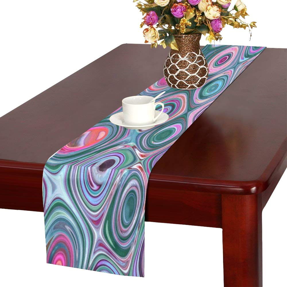 Jnseff Texture Structure Pattern Blue Pink Table Runner, Kitchen Dining Table Runner 16 X 72 Inch For Dinner Parties, Events, Decor