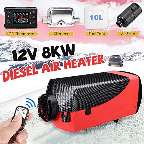 Per 5000w Car Heater LCD Monitor Fuel Heater Diesel Heater Air Heater Set Single Hole with Remote Control and Silencer: Kitchen & Home