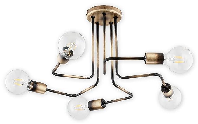 Lámpara de techo en estilo Bauhaus, 5 focos lámpara de ...