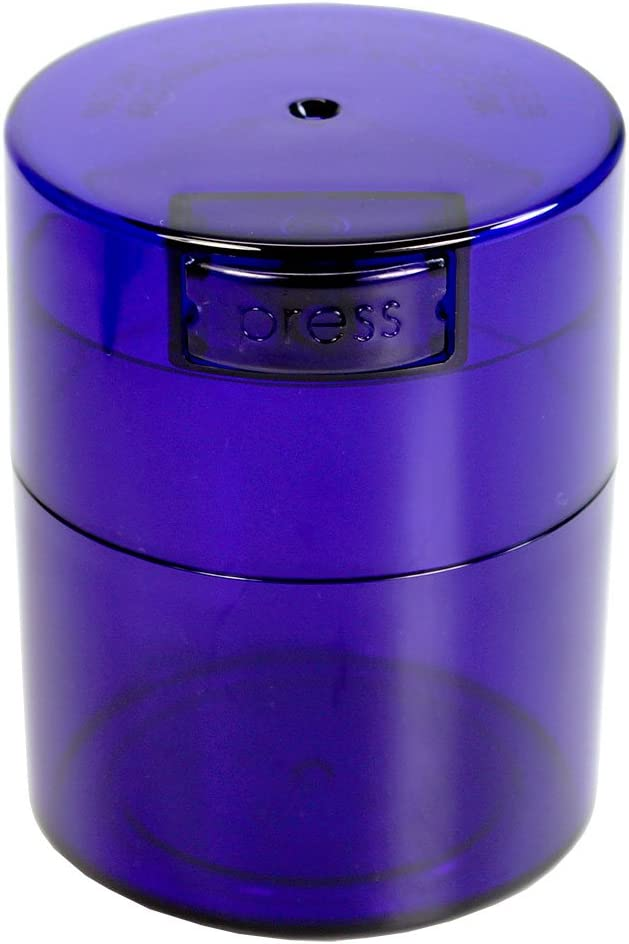 Tightvac - 1/2 oz to 3 ounce Airtight Multi-Use Vacuum Seal Portable Storage Container for Dry Goods, Food, and Herbs - Blue Tint