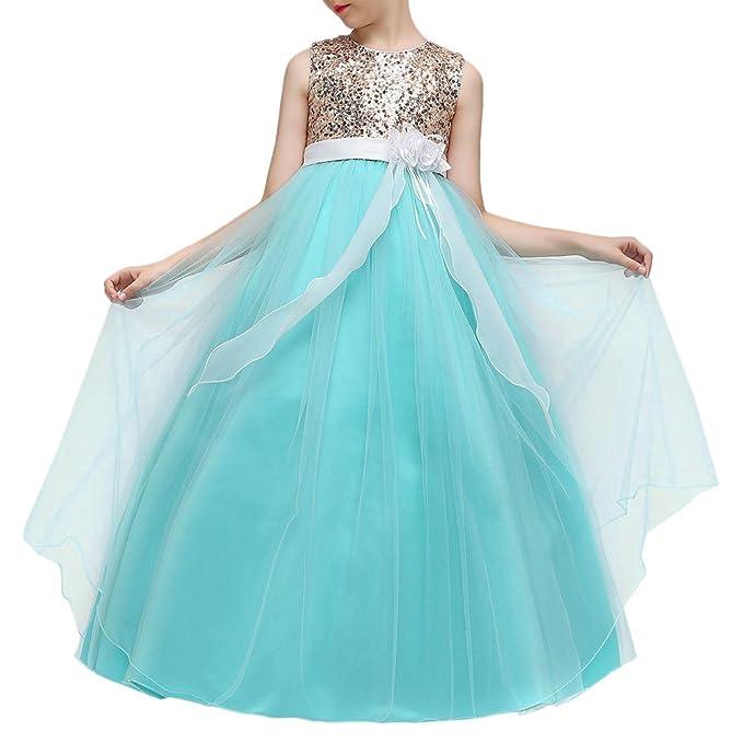 Zhhlaixing Chicas Flores Lentejuelas Vestido de Fiesta de Princesa Encaje de tul Bow Tie Vestido de
