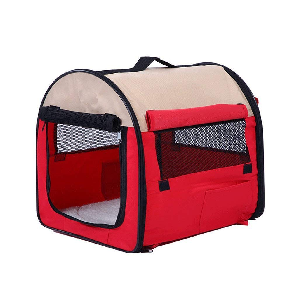 L Folding pet house, dog cat outdoor travel tent, washable cat and dog General Cat House dog kennel, mesh Pet House, red, 3 Size (Size   M) Non Slip Cushion Pad (Size   L)