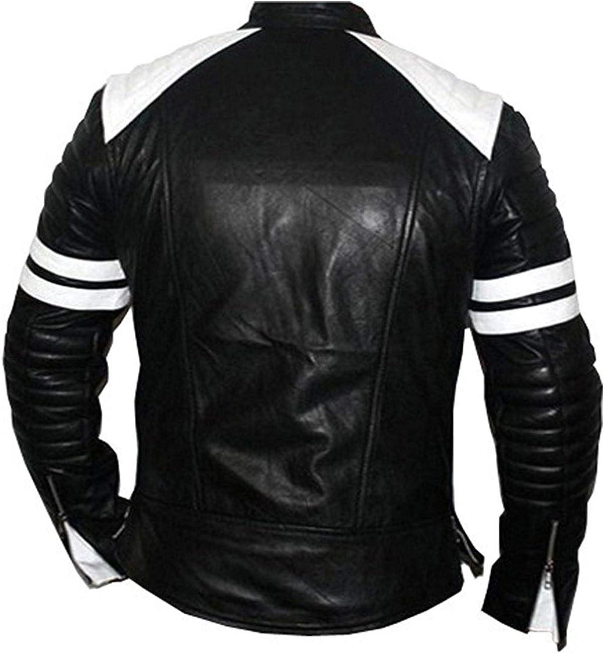 Mens Brad Pitt Black and White Lining Biker Leather Jacket 2XS to 3XL