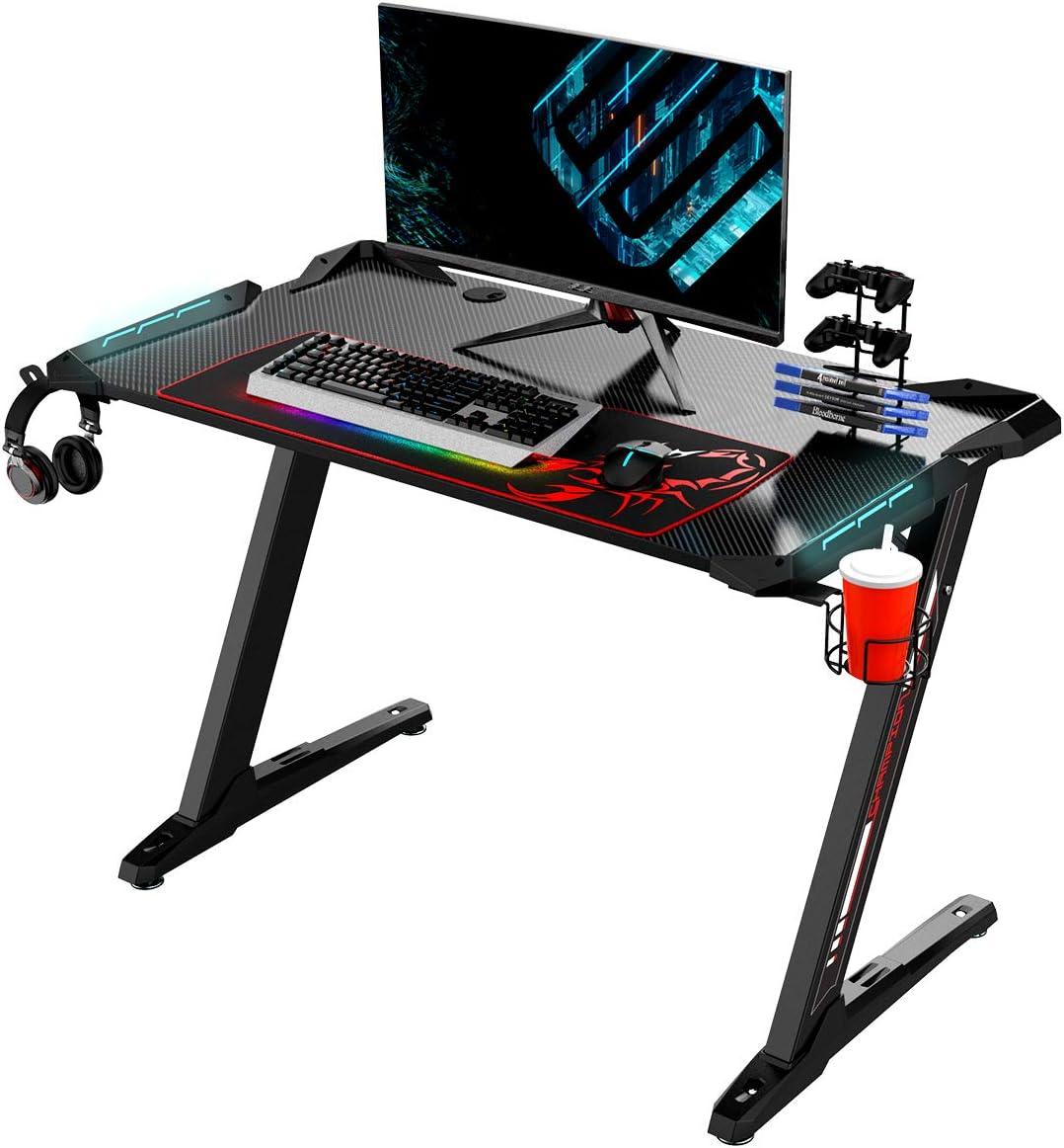 EUREKA ERGONOMIC Z1-S Gaming Desk Mesa de juegos para computadora mesa de juegos mesa de juegos para PC con luces LED fibra de carbono portavasos y gancho para auriculares Negro: Amazon.es: Juguetes