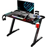 "EUREKA ERGONOMIC Z1-S Gaming Desk 44.5"" Z Shaped Office PC Computer Gaming Desk Gamer Tables Pro with LED Lights…"