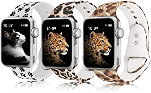 Lepsoo Compatible with Apple Watch Band 40mm 38mm Watch Bands Series 5/4/3/2/1 Cute Floral Soft Silicone Replacement Sport Wristbands for Women Men 3 Pack
