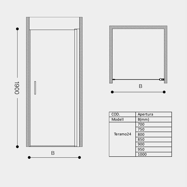 sogood nichos Puerta técnicos drehtür Mampara teramo24 85 x 195 cm ...