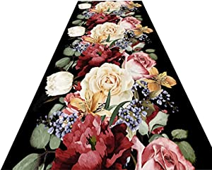 Runner Rug Elegant Large Floral Carpet, Living Room Bedroom Kitchen Washable Rugs with Non Slip Backed, Easy Clean & Durable, Can be Cut (Size : W120cm x L100cm)