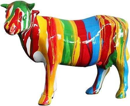 Meubletmoi Sculpture Vache Multicolore Style Design Contemporain Moderne
