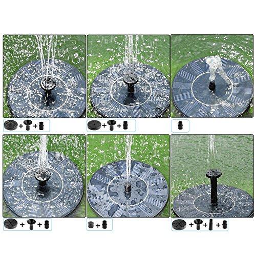 BHY Solar Fountain Pump, 1.5W Solar Powered Bird Bath Water Fountain Panel Birdbath Floating Outdoor Fountain Kit Garden Fish Tank, Pond, Pool, Water Cycling by BHY (Image #3)