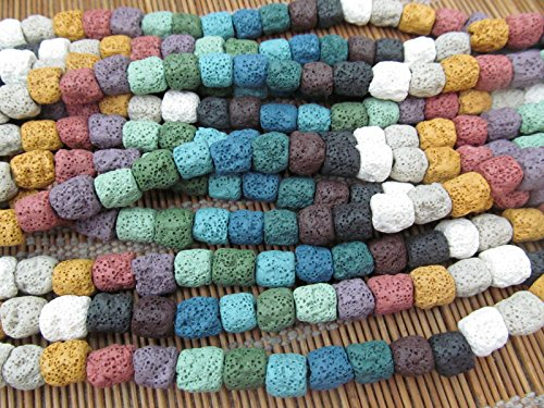 Assorted Volcanic Stones (wholesale 2stands 10-12mm Rainbow Lava volcanic gem Cube tube bar column drum freeform nuggetrs assorted lava stone beads)