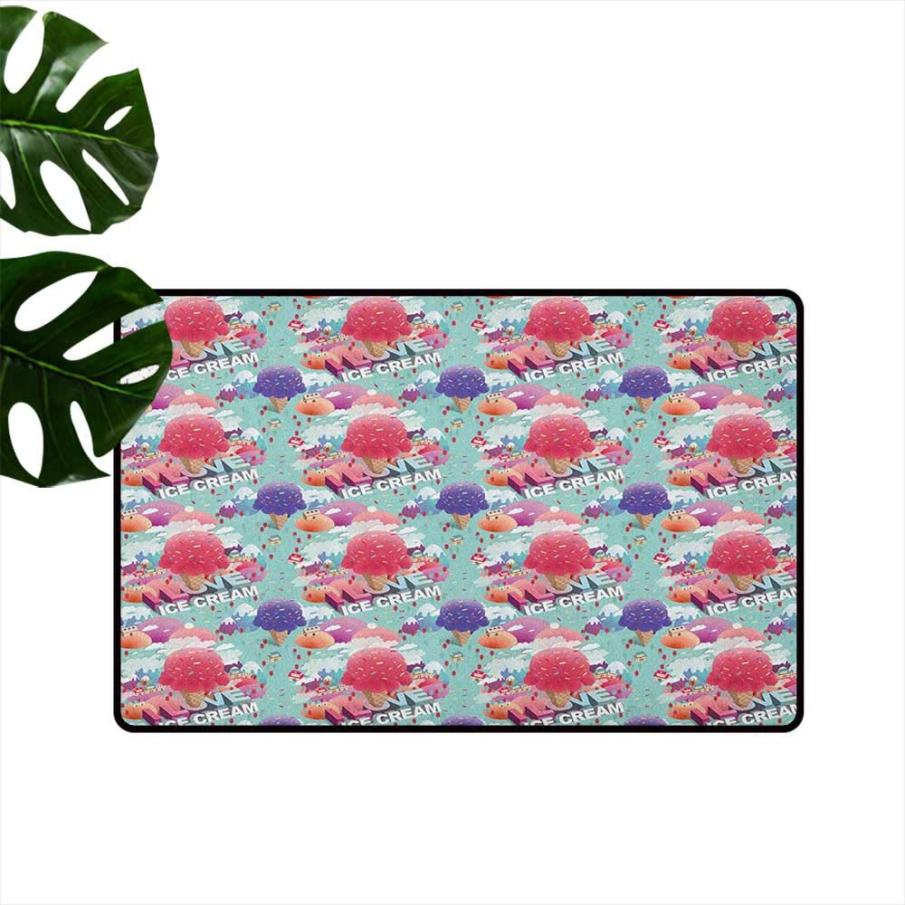 color01 W35 x L59  Ice Cream Fashion Door mat Popsicles in Cartoon Style Scattered on Polka Dot Background Yummy Fresh Frosting Hard and wear Resistant W31 x L47 Multicolor