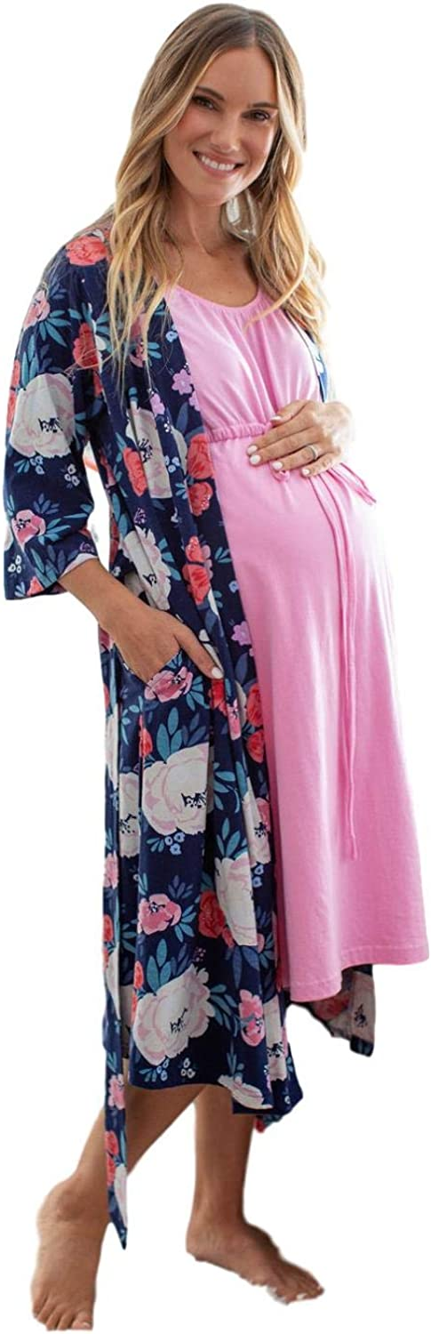 3 in 1 Maternity Labor Delivery Nursing Hospital Birthing Gown /& Matching Robe