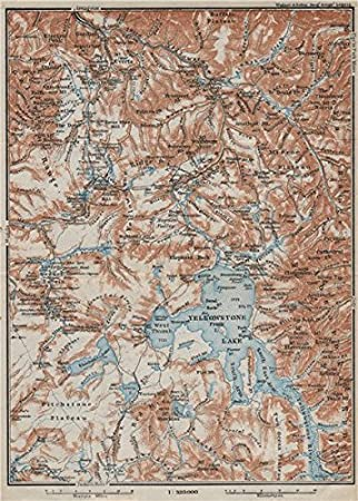 Yellowstone National Park. topo-map. Wyoming. Baedeker – 1909 – on