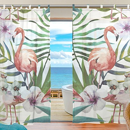 SUABO 2PCS Ultra Luxurious Window Gauze Curtains, Polyester Washable Sheer Window Curtain Panels for Bedroom Living Room 55″W x 78″L – (Set of 2 Panels), Brazil's Rainforest Tree Leaf Flower Flamingo For Sale