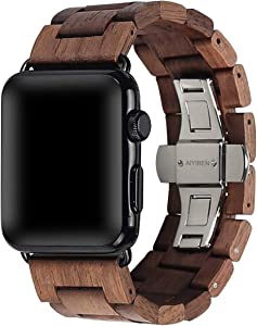 Wooden Watch Strap Band 42mm/44mm with Stainless Steel Butterfly Buckle Compatible for iWatch Series 1 2 3 4 5(Walnut)