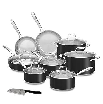 KitchenAid 14 pc Onyx negro cocina de inducción de acero inoxidable juego incluye con algunos por