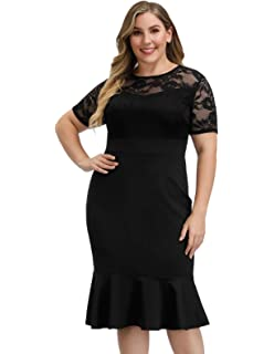 SheIn Womens Plus Size Elegant Mesh Contrast Pearl Beading ...