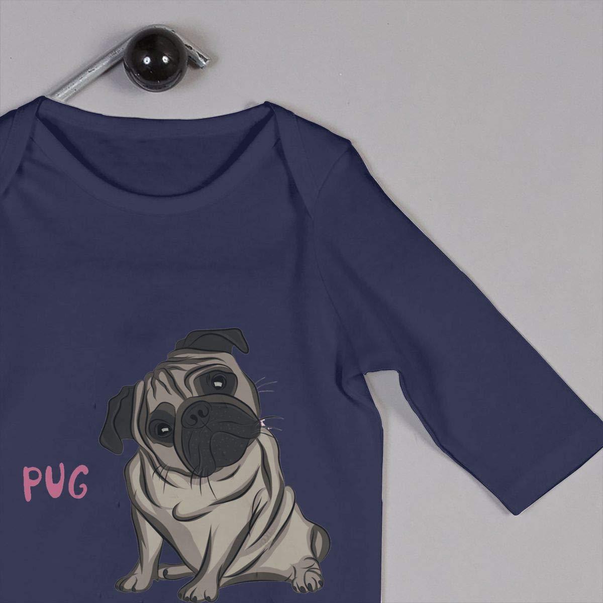 NOALKJ Babys Long Sleeve Romper,Cute Pugs Jumpsuit Bodysuit Clothes