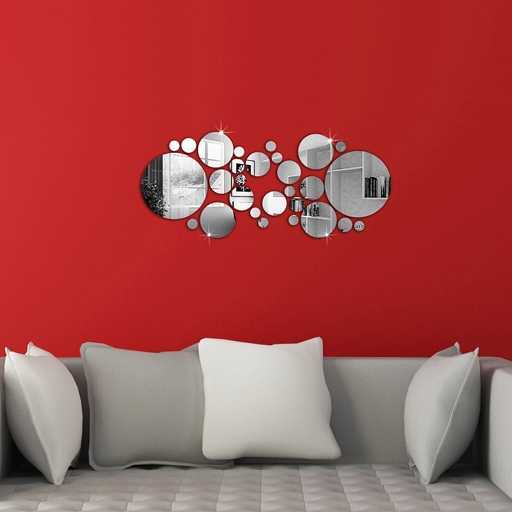 amazon com diy mirror wall sticker omgai removable round acrylic amazon com diy mirror wall sticker omgai removable round acrylic mirror decor of self adhesive circle for art window wall decal kitchen home decoration