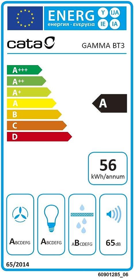 Hottes 700 m/³//h, Conduit, D, B, 58 dB, 50 dB CATA GAMMA 700 Int/égr/é au plafond Acier inoxydable 700m/³//h C
