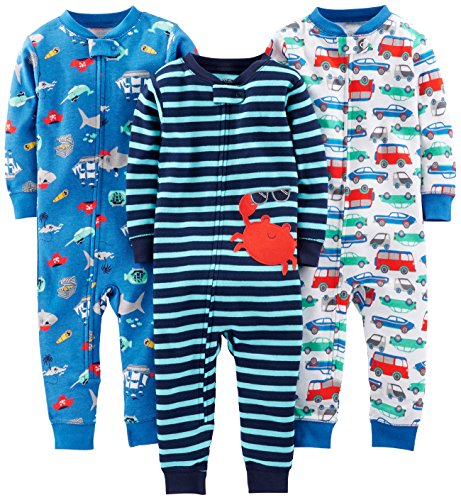 Simple Joys by Carter's Baby Boys' Toddler 3-Pack Snug Fit Footless Cotton Pajamas, Crab/Sea Creatures/Cars, 4T