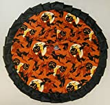 Small Halloween Tree Skirt, 24'' Orange with Witches & Jackolanterns