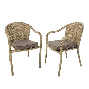 Pack 2 sillones jardín de Aluminio y ratán sintético Color ...
