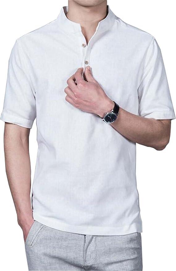 14 opinioni per HOEREV Camicie Casual manica corta lino Slim Fit camicie Beach