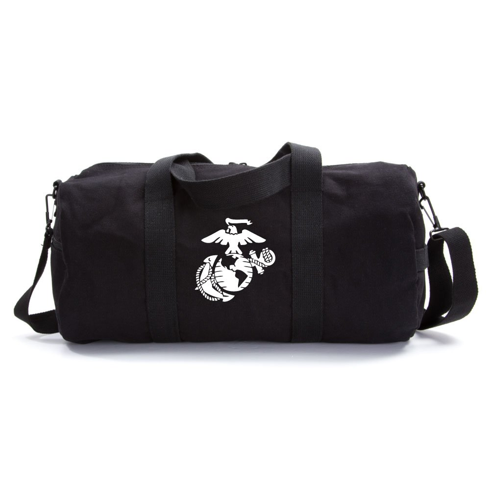 U.S. Marine Corps Semper Fidelis Army Sport Heavyweight Canvas Duffel Bag in Black & White, Large