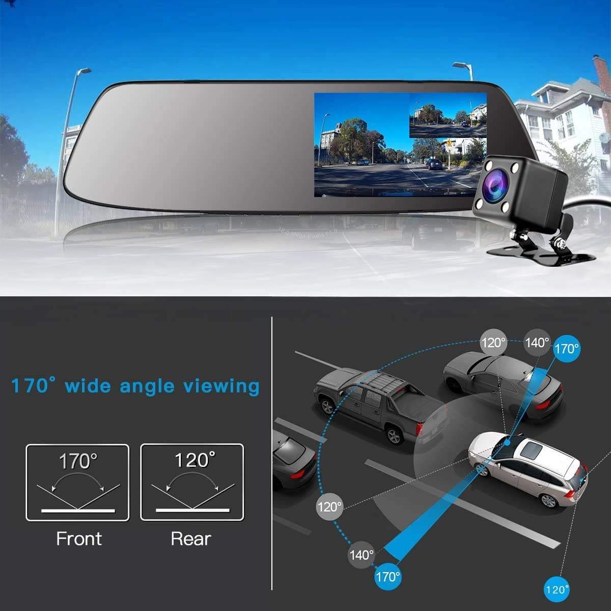 Backup Camera 5 Touch Screen Mirror Dash Cam 1080P TwinPa Front and Rear Dual Lens Car Camera with Parking Assistance G-Sensor,Waterproof Rear View Revers Camera