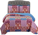 King Comforter 110 X 96 Kenzy King/Calking Size, Over-Sized Quilt 3pc set 110