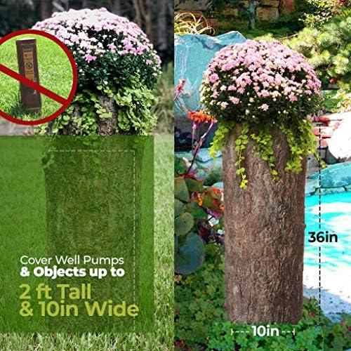 Bushy Box - Macetero hueco grande para troncos Maceta para jardín, patio y porche Funda para bomba de pozo de tronco de árbol alto. Impermeable, rústico, de aspecto natural para decoración de