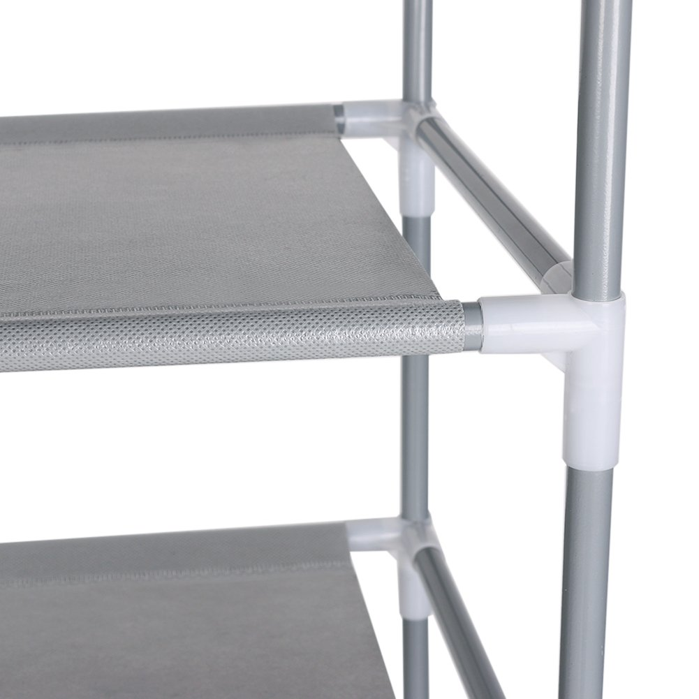 Awkli 8 Tiers Shoe Rack with Dustproof Cover Closet Shoe Storage Cabinet Organizer 26.8 x 11.8 x 59.8 inch (Gray)
