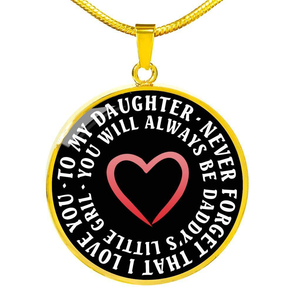 Anniversary Birthday Gag Gifts for Little Girl Never Forget That I Love You Necklace Chain to My Daughter Pendant Necklaces