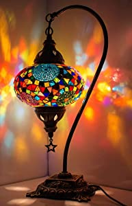 New* BOSPHORUS Stunning Handmade Swan Neck Turkish Moroccan Mosaic Glass Table Desk Bedside Lamp Light with Bronze Base (Multi-colored)