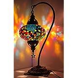 New BOSPHORUS Stunning Handmade Swan Neck Turkish Moroccan Mosaic Glass Table Desk Bedside Lamp Light with Bronze Base (Multi