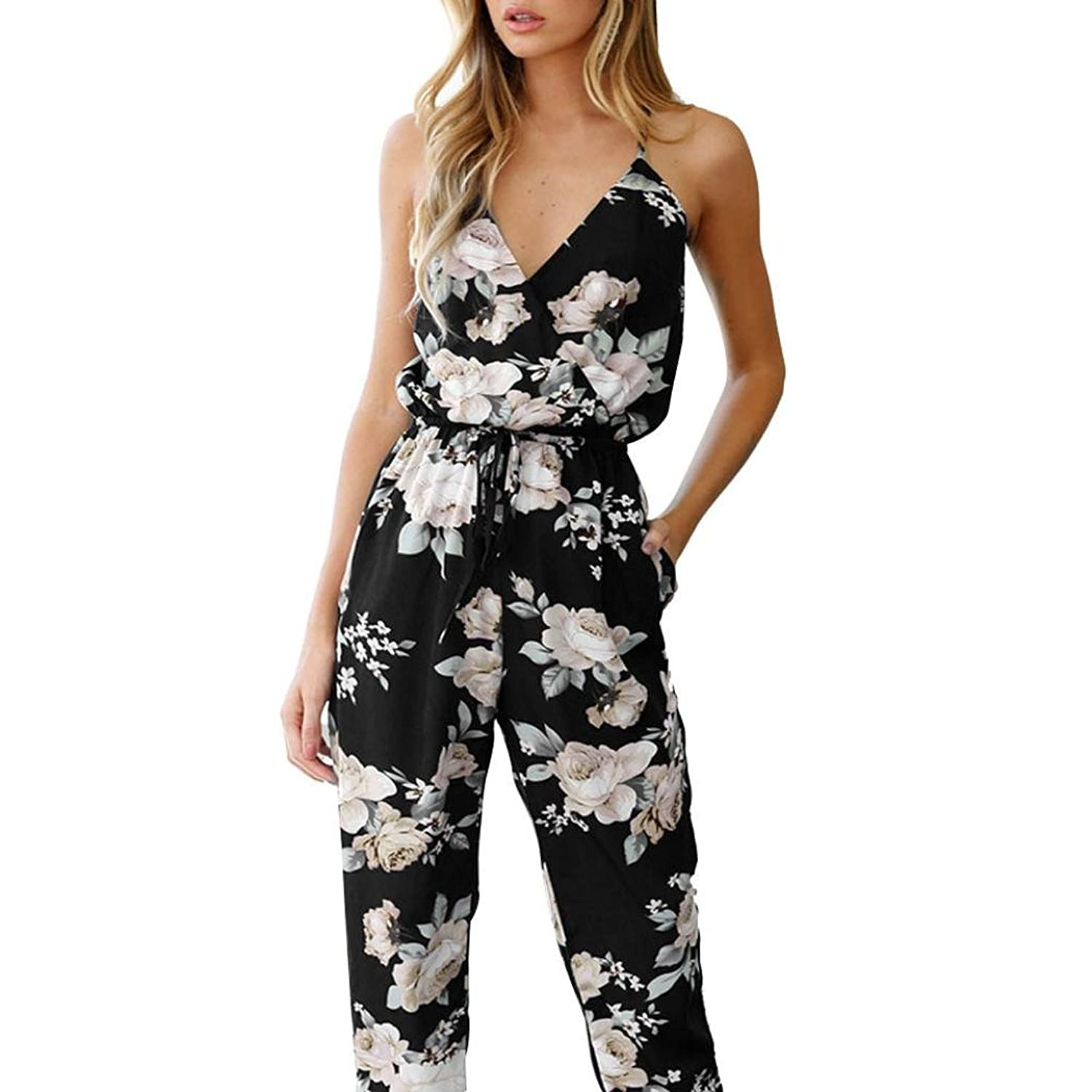 Keepfit Floral Printed Jumpsuit With Pockets Playsuit Party Rompers Long Pants for Women