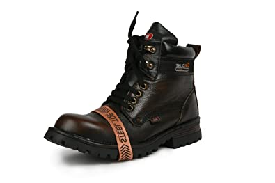 aa33cb8cec0 Bacca Bucci Mens 6 inches Water Repellent Steel Toe Cap Real Leather PDM  MILD Outdoor Laceup Boots/Warranted Quality & Durable Boot-Brown