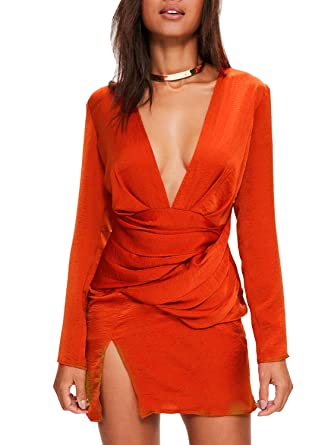 96dcd0da2622 Glamaker Women s Long Sleeve Deep V Neck Satin Silk Pleated Dress with Slit  Party Clubwear Orange at Amazon Women s Clothing store
