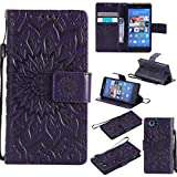 NEXCURIO [Embossed Flower] Sony Xperia Z3 Compact Wallet Case with Card Holder Folding Kickstand Leather Case Flip Cover for Sony Xperia Z3 Compact (Purple)
