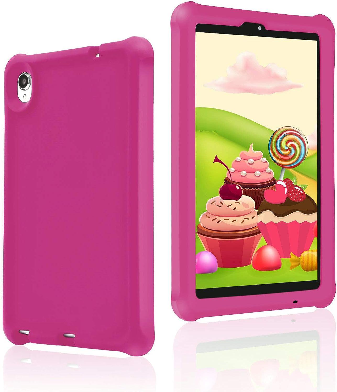 MingShore Rugged Case for Lenovo Tab M8 HD/Smart Tab M8/Tab M8 FHD, Kid Friendly Silicone Heavy Duty Case Cover for Lenovo M8 TB-8505F TB-8505X TB-8505FS TB-8705F TB-8705N 8 inch Tablet (Raspberry)